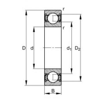 85 mm x 130 mm x 22 mm  FAG 6017-2RSR deep groove ball bearings